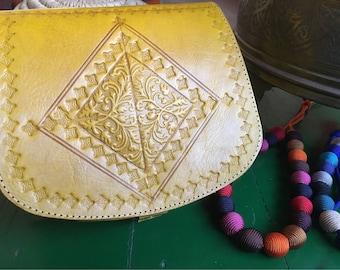 Yellow Leather Bag, Moroccan Leather Bag, Handtooled Leather Bag, Cross Body Leather Bag, Yellow Leather Shoulder Bag Handbag