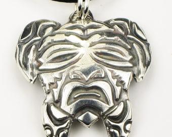 Native American Turtle Mask Sterling Silver Pendant - Necklace - Key Ring - Southwest Tribal Indian Tortuga Mask Pendant - Silver Keyring