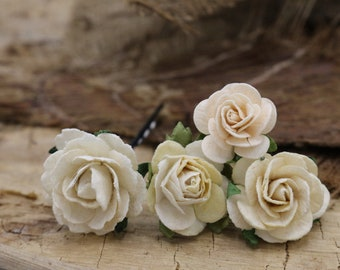 Ivory Little Roses Hair Pieces, Paper Flower Hair Pins , Bridal Hair Pins, Hair Bobby Pins,rustic wedding,Bridal Hair Accessories (FL382)