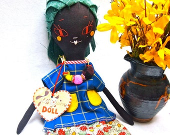 Rag doll cloth artists doll dark brown linen embroidered face Molly Dolly, Claudia Meringue