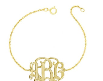 """Personalized gold Monogram Bracelet - 1"""" custom 3 Initials link Bracelet, Initial Monogram Bracelet in 18k yellow gold plated 925 silver"""