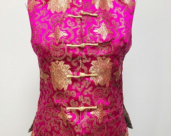 Reversible satin pink and gold vintage vest