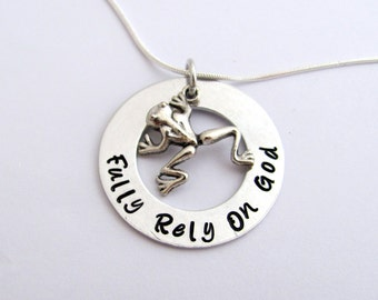 FROG Necklace, Fully Rely On God with Frog Charm