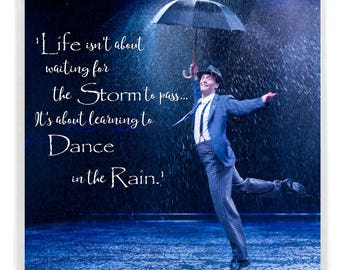 Life isn't about waiting for the Storm to Pass, it's about learning to Dance in the Rain  Inspirational Quote Drinks Mug Coaster.