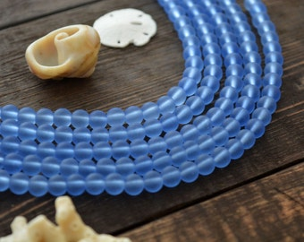 """Clear Sky Blue, 6mm Round Cultured Glass Beads, 34 beads, 8"""" strand, Cultured Sea Glass, Jewelry Making Supplies"""