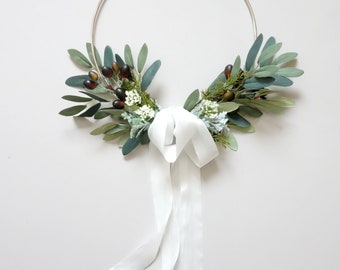 Simple Wreath, Hoop Wreath, Minimalist Wreath, Olive Branch Wreath, Bridesmaid's Hoop Bouquet, Farmhouse Decor, Modern Wreath, Door Decor