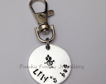 Child's bag tag - zipper pull - back to school - name keyring - starting school gift - preschool - kindergarten - nursery - bag charm