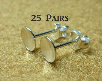 925 Sterling Silver PAD Earring Posts (6mm.) and Earring Backs - 25 Pairs (50 Pieces)