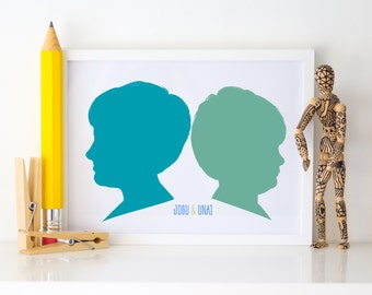Custom Silhouette 2 people Portrait, Family portrait, Custom Silhouette, Personalized Gift, Kid's portrait, Modern home.