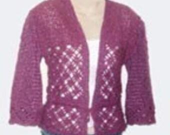 crochet pattern for Rose Cardigan Sweater Shrug PDF