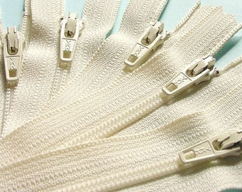 11 Inch Zippers - Off White Ecru Bone Vanilla Color 121 YKK Brand- Wholesale 100 Pieces