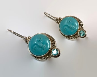 Goddess Earrings, Full Moon, Sterling Silver, Sajen Offerings, Vintage, Turquoise, Blue Topaz, Bali Princess, Carved Face, Bali Queen