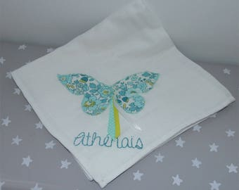 White Swaddle 60 x 60 with liberty Betsy Lemon mint Butterfly custom name