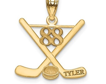 Laser Polished Name And Number Hockey Pendant CHOOSE