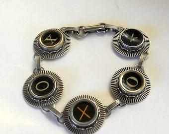 Typewriter Key Jewelry, Bracelet.  XO, Hugs and Kisses,  Retro. Recycyled. Reclaimed. Vintage. Custom Orders Welcome.