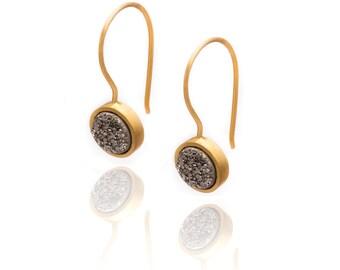 Druzy Drop Earrings - Silver Druzy in Yellow Gold - Druzy / Drusy Quartz Earring - 24k Yellow Gold Vermeil - Small Round Druzy Drop Earring