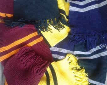 Multi-coloured striped scarf