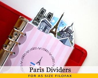 A5 Size Cute Kawaii Paris DIY Dividers 5 Top Tabs for Filofax Kikki.K Louis Vuitton Planner Printable PDF Instant Download