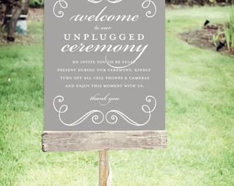 """Unplugged Wedding Sign   Instant Download   Wedding Signs Swirls  Poster Size 24""""x30""""   No. EDN 2010P"""