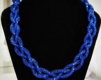 Navy braided sparkle necklace