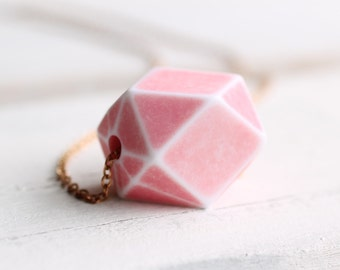Pink Geometric Necklace ...  Cotton Candy Pink Vintage