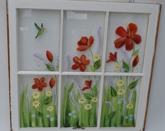 Old Windows/Hand Painted Windows/ Red Hibiscus/Hummingbird/Shabby Chic/ Window Decor/ Window Art/Yellow Daisies/Floral Window/Vintage Window