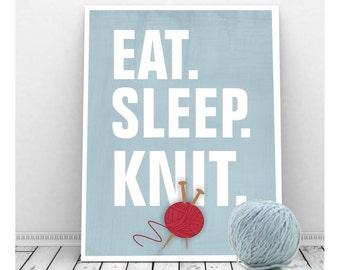 Knitting Art, Craft Room Decor, Eat. Sleep. Knit. Instant Download