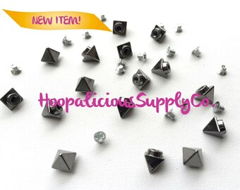 """6mm """"Tall & Narrow"""" Pyramid Morsel Metal Screw Back Studs. DIY Clothing, Shoes,etc. Fast Shipping from USA w/ Tracking 4 Domestic Orders."""