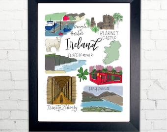 Ireland Print with Calligraphy and drawings | 8x10 Printable | Cliffs of Moher, Blarney Castle, Temple Bar, Trinity Library, shamrock