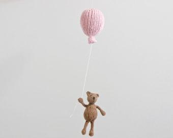 Bear Baby Mobile, Balloon Mobile, Bear Mobile, Pink Balloon Mobile, Balloon Nursery Hanging Mobile, Gender Neutral Nursery, Blue Balloon