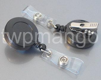 100 Retractable Badge Holder... SWIVEL-BACK... Alligator Clip... Black... ID Card Reel... K40-100