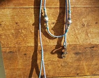 "Braided Kangaroo Leather Dog Show Lead  - 36"" Turquoise/Lavender"