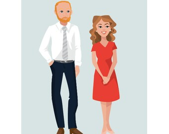 Custom Graphic Illustrated Portraits for Couples