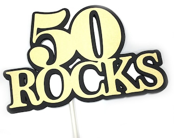 50th Birthday - 50 ROCKS - Lollipop Bouquet or Cake Topper - Black and Gold READY to SHIP