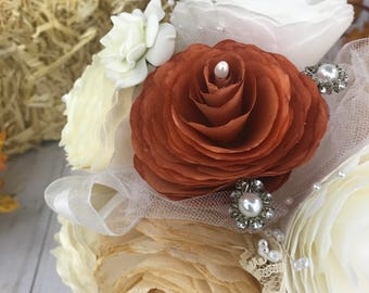 Alternative bouquet, Shabby chic bouquet, Paper bouquet, Burnt orange bouquet, Rustic bouquet, Burlap and Lace, Country chic Wedding