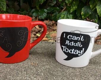 adult today, adult, mug, coffee mug, humor, funny, tea mug, mug, kitchen, drinkware, i cant adult, sarcasm, lazy day, mugs, funny, cup, cute