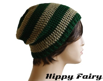 mens crochet beanie,mens beanie, green beanie, crochet mens hat, beanie for men, mens slouch hat
