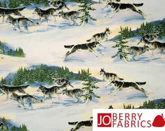 Pack of Wolves Fabric, Wild by Al Agnew for Elizabeth's Studio, Quilt or Craft Fabric, Fabric by the Yard