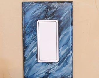 Rocker Switchplate, Switchplate, Painted Switchplate, Blue Decor, Home Decor