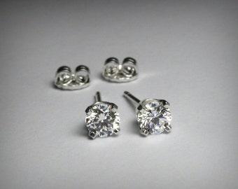 Diamond Earrings, Diamond Stud Earrings, Solid 14K White Gold, Genuine Natural Diamonds, Genuine Diamond Earrings, 14K Gold, Post Earrings