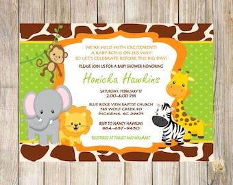 Safari Jungle Zoo Baby Shower Invitation