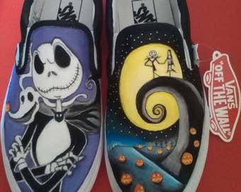 VANS/CONVERSE Shoes (original) custom, Nightmare before Christmas hand-painted