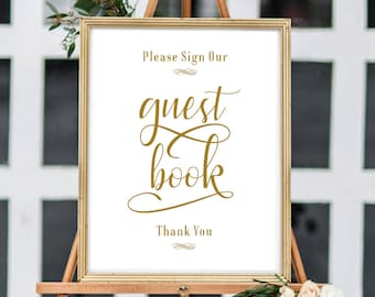 Wedding Guest Book Sign, Wedding Guestbook, Guestbook Sign, Modern Guest Book Sign, Guest Book Sign In, Black, Gold, A3, 11x14, 8x10, 5x7