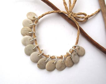 Rock Beads Small Mediterranean Natural Stone River Stone Jewelry Supplies Pairs BEIGE CHARMS 11-12 mm