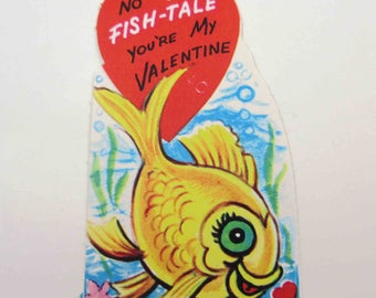 Vintage Unused Children's Novelty Valentine Greeting Card with Orange or Gold Fish in Water With Seaweed and Bubbles