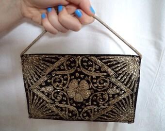1920s Black Velvet Gold Thread Embroidered Purse/Handbag