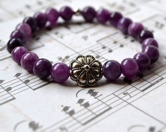 Purple Boho Chic Stretch Bracelet Stacking Jasper Beaded Natural Stone Bohemian Fashion Jewelry Silver Bead Paisley Beading FREE Shipping