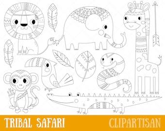 Tribal Safari Animals Clipart   African Animals Digital Stamp   Line Art   EPS