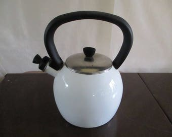COPCO Tea Kettle White Enamel Enamelware  Teapot