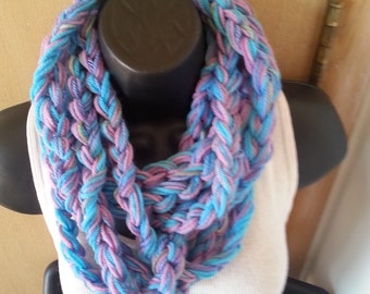 Crochet Scarf - Infinity Scarf - Crochet Necklace - Lavender Scarf - Chain Scarf - Rope Scarf - Ladies Gift - Neck Scarf - Purple Scarfboho